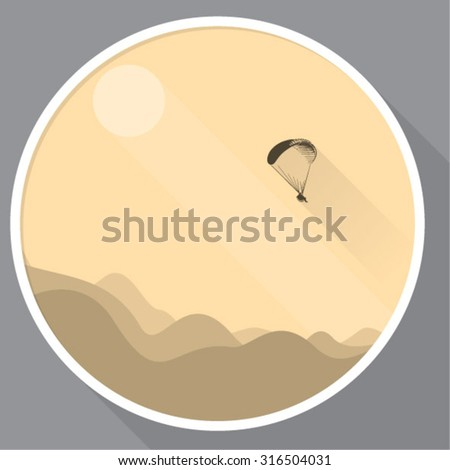 Abstract vector icon with a skydiver flying with a glide, symbol of extreme sports, fun or safety