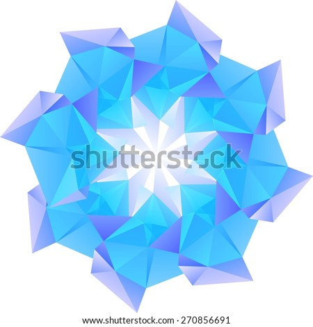 Abstract vector Illustration. Abstract polygonal colorful shape. Polygonal vector flower.  - stock vector