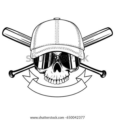 abstract vector illustration black white skull stock vector rh shutterstock com Baseball Bat Clip Art Vector Vector O Baseball Bat