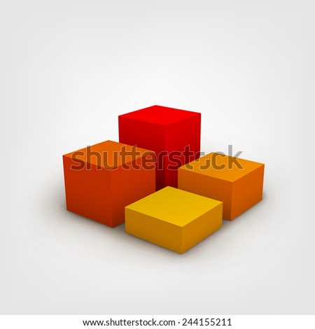 Abstract vector Illustration. Composition of 3d cubes. Background design for banner, poster, flyer, cover, brochure. Logo design. Stylized 3d graph. - stock vector