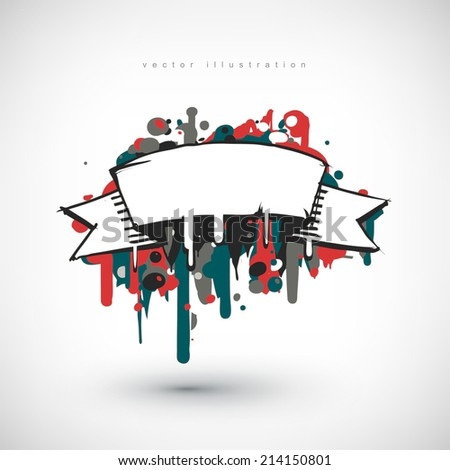 Abstract vector Illustration. Hand drawn banner with place for text. Background design. Stylized design element. - stock vector