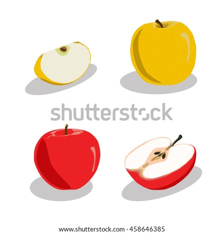Abstract vector illustration logo whole ripe fruit colors apple, green stem leaf,cut sliced on background. Apple pattern consisting of tag label,peel fruits,ripe sweet food.Eat fresh apples on health.