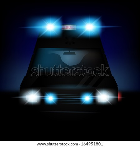 Abstract vector illustration of a dutch ambulance with sirenes