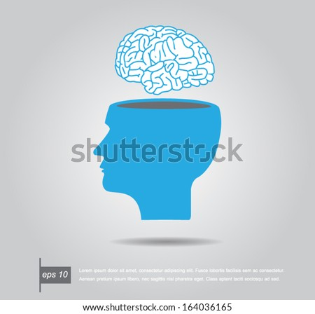 Abstract vector illustration of a human head with brain - stock vector