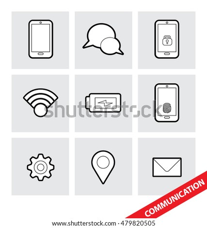 Abstract vector illustration of a set of Communication icons