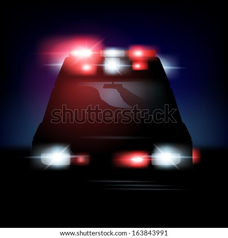 Abstract vector illustration of an ambulance with sirenes - stock vector