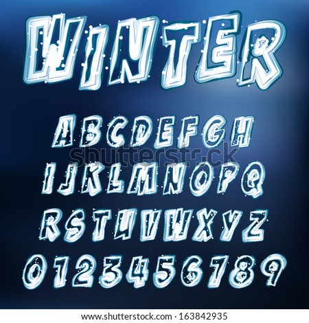 Abstract vector illustration of an icy alphabet