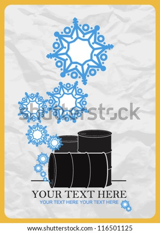 Abstract vector illustration of barrels  and snowflakes. - stock vector