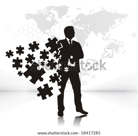 abstract vector illustration of business man with puzzle pieces. - stock vector