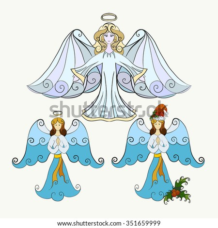 Abstract vector illustration of Christmas angel set. Prayer angel in Santa Claus hat with mistletoe. Hand-drawn objects. Isolated on white background. Eps 8. - stock vector