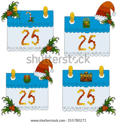 Abstract vector illustration of Christmas calendar set of 25th december decorated with mistletoe, Santa Claus hat. Hand-drawn floral objects. Isolated on white background. Eps 8. - stock vector