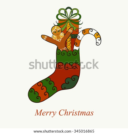 Abstract vector illustration of Christmas sock with gift, candy cane, gingerbread girl. Isolated on whitish background. Eps 8. - stock vector