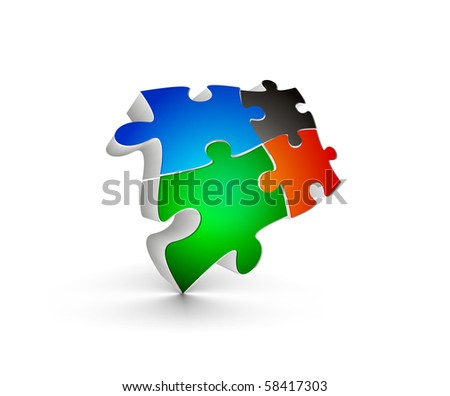 abstract vector illustration of 3d puzzle pieces. - stock vector