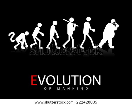Abstract vector illustration of evolution theory to obesity - stock vector