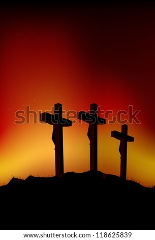 Abstract vector illustration of 3 figures on crosses - stock vector
