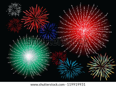 Abstract vector illustration of fireworks over a black sky - stock vector