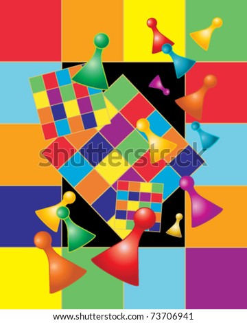 abstract vector illustration of  gaming checkered boards and pieces in bright rainbow colors in eps 10 format - stock vector