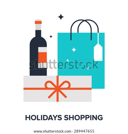 Abstract vector illustration of holidays shopping flat design concept. - stock vector