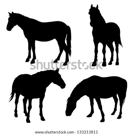 Abstract vector illustration of horse silhouettes - stock vector