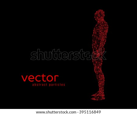 Abstract vector illustration of human body on black background. Side view. - stock vector