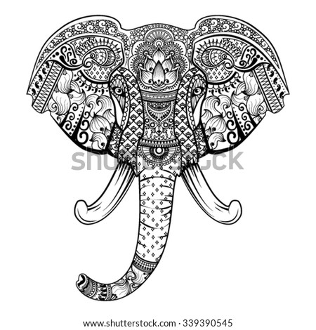 Abstract vector illustration of Indian elephant made with ethnic pattern.