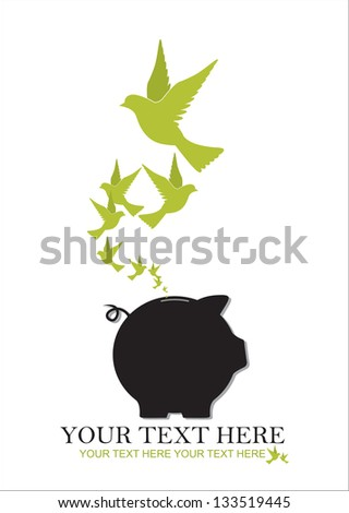 Abstract vector illustration of piggy bank and birds. - stock vector