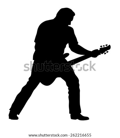 Abstract vector illustration of rock guitarist silhouette - stock vector