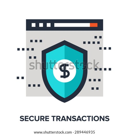 Abstract vector illustration of secure transactions flat design concept. - stock vector