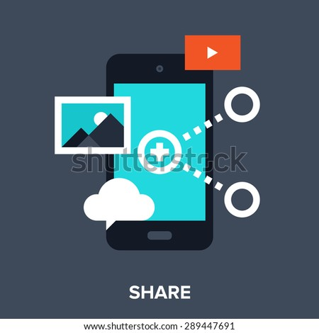 Abstract vector illustration of share flat design concept. - stock vector