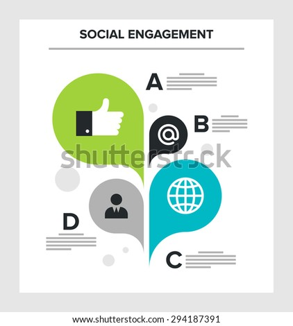 Abstract vector illustration of social engagement flat infographic concept.