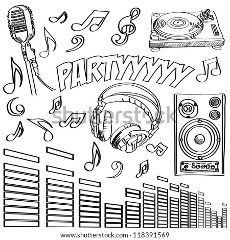 Abstract vector illustration of some dj symbols - stock vector