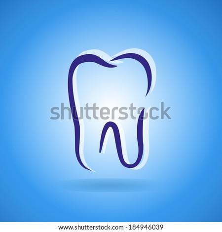 Abstract Vector illustration of teeth. Vector icon on blue background - stock vector
