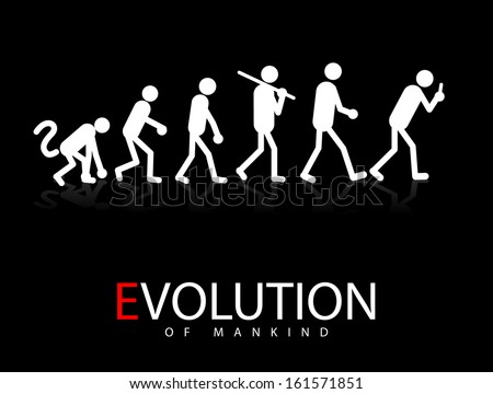 Abstract Vector Illustration Of The Evolution Theory To Smartphone Addicts - stock vector
