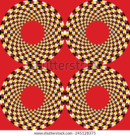 Abstract vector illustration optical illusion of geometric shapes and stars - stock vector