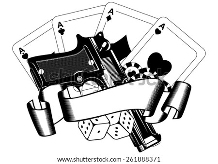 Abstract vector illustration pistols and playing cards - stock vector