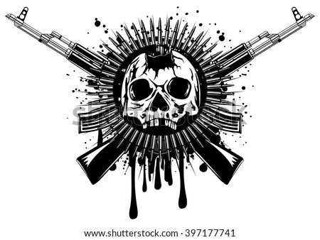 Cool Skull Logos With Guns Gun Stock Image...