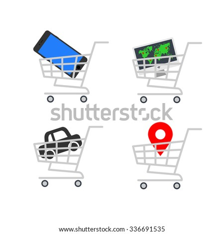 Abstract vector illustration shopping cart icon with map pointer, car icon, smartphone icon, computer flat design icon on a white background - stock vector