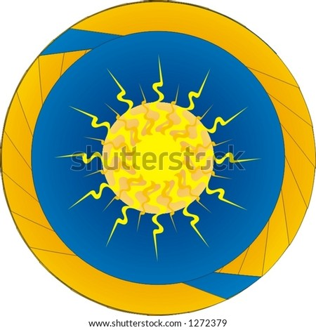 abstract vector illustration, stylish sun in the earth space, radial pattern - stock vector