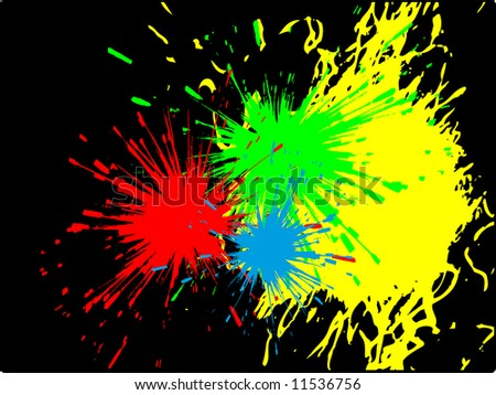 Abstract vector illustration with color paint splashes on black wall background - stock vector