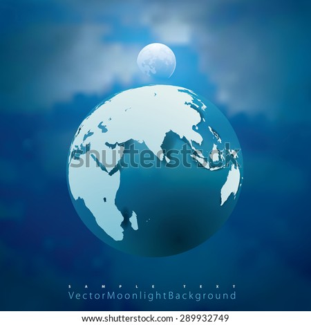 abstract vector illustration with Earth and Moon - stock vector