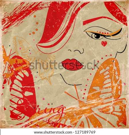 abstract vector illustration with girl head and butterflies - stock vector