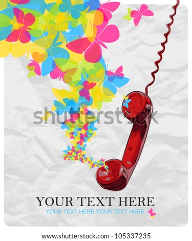 Abstract vector illustration with letefonny tube and butterflies. - stock vector