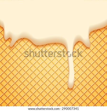 Abstract Vector Illustration with Milk Plombir Ice Cream and Wafer. Delicious Food Background. - stock vector