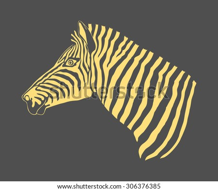 Abstract vector image of the profile of the head on a dark background of yellow zebra. cloth. wallpaper. logo. icon. banners.