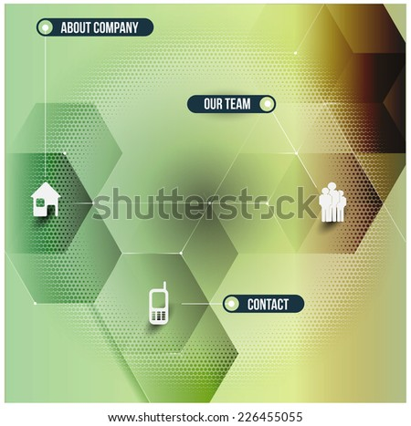 Abstract vector infographic design with 3D cubes and with corporate contact icons - stock vector