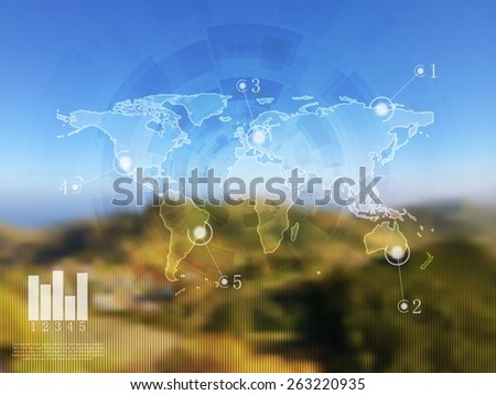 Abstract vector infographics design on blurred landscape. Gradient mesh - stock vector