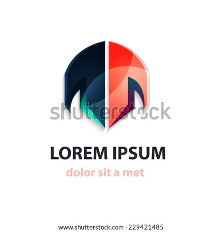 Abstract vector isolated logo with text - stock vector