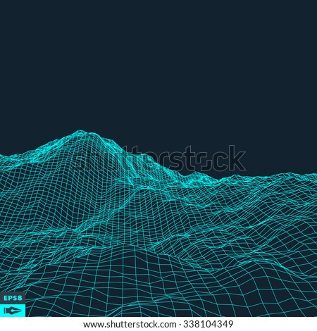 Abstract vector landscape background. Cyberspace grid. 3d technology vector illustration. - stock vector