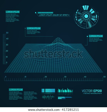 Abstract vector landscape background. Cyberspace grid. 3d technology vector illustration. Geometric background with sci fi futuristic user interface. Vector illustration. - stock vector