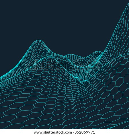 Abstract vector landscape background. Cyberspace hexagon grid. 3d technology vector illustration.Polygonal surface.
